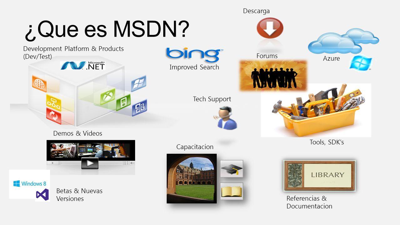 Development Platform & Products (Dev/Test) Descarga Azure Tools, SDKs Referencias & Documentacion Capacitacion Tech Support Demos & Videos Betas & Nuevas Versiones Improved Search Forums