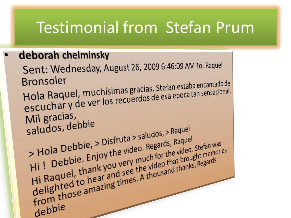 Testimonial from Stefan Prum