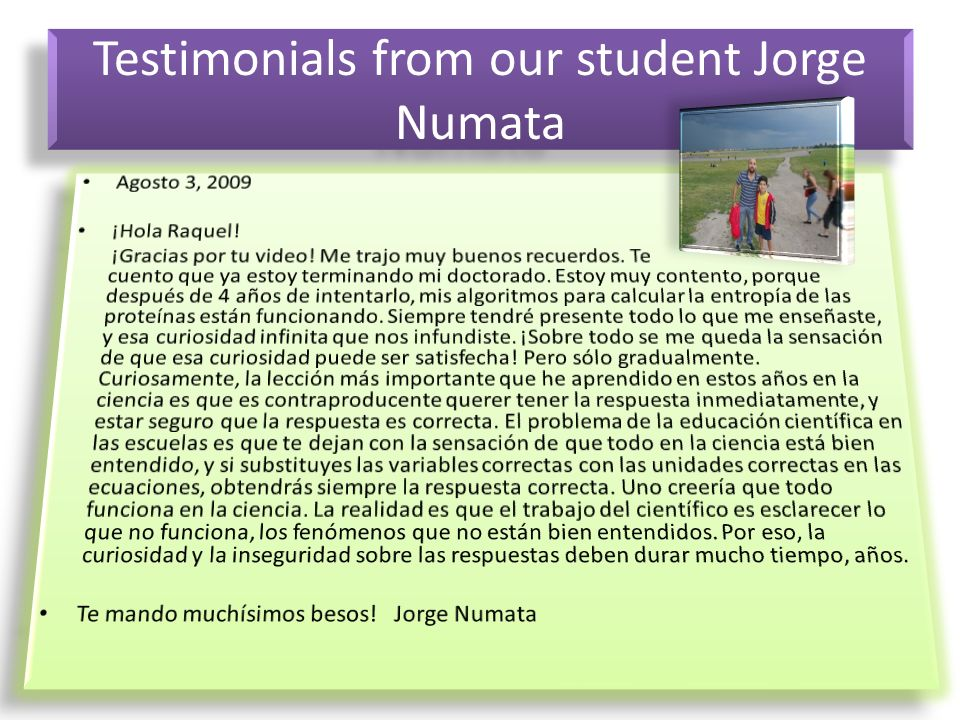 Testimonials from our student Jorge Numata