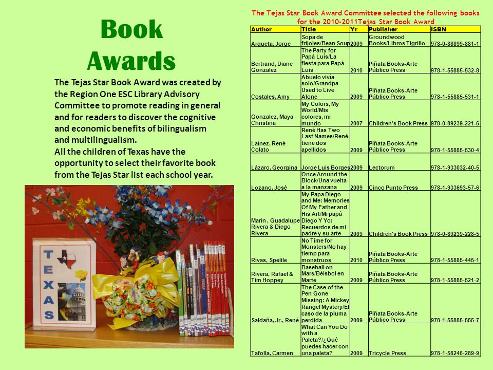 Book Awards The Tejas Star Book Award was created by the Region One ESC Library Advisory Committee to promote reading in general and for readers to di