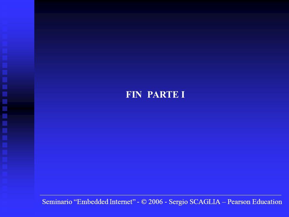 Seminario Embedded Internet - © 2006 - Sergio SCAGLIA – Pearson Education FIN PARTE I