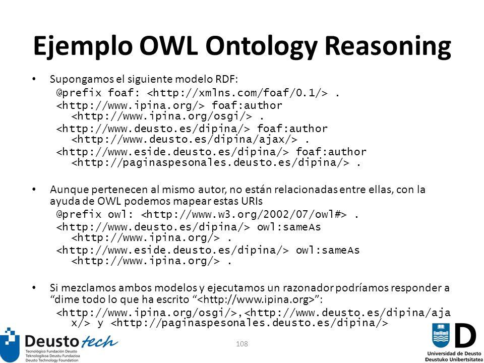 108 Ejemplo OWL Ontology Reasoning Supongamos el siguiente modelo RDF: @prefix foaf:. foaf:author. Aunque pertenecen al mismo autor, no están relacion