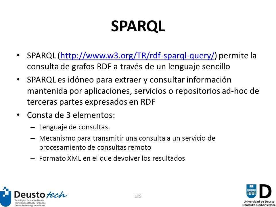 109 SPARQL SPARQL (http://www.w3.org/TR/rdf-sparql-query/) permite la consulta de grafos RDF a través de un lenguaje sencillohttp://www.w3.org/TR/rdf-