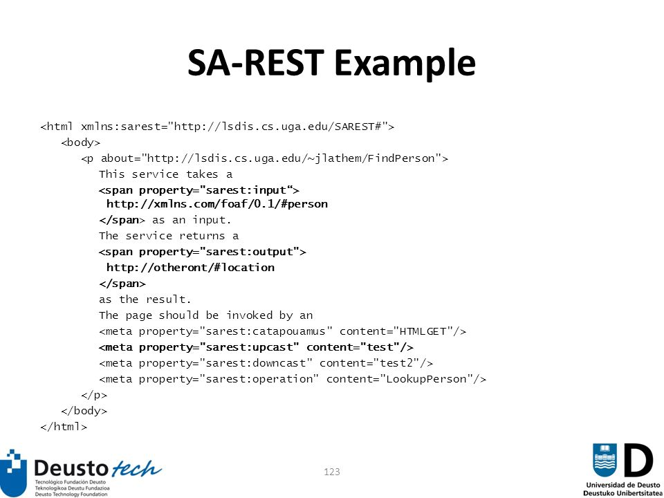 123 SA-REST Example This service takes a http://xmlns.com/foaf/0.1/#person as an input.