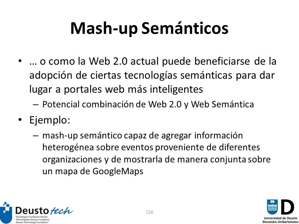 126 Mash-up Semánticos … o como la Web 2.0 actual puede beneficiarse de la adopción de ciertas tecnologías semánticas para dar lugar a portales web má