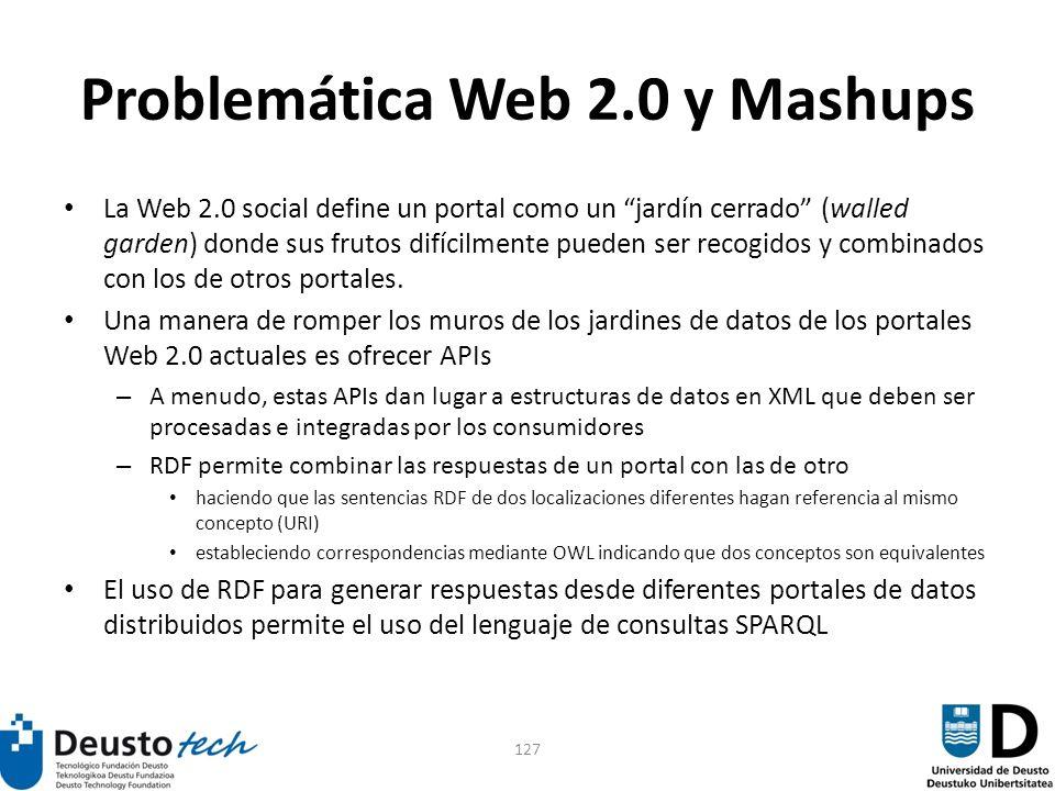 127 Problemática Web 2.0 y Mashups La Web 2.0 social define un portal como un jardín cerrado (walled garden) donde sus frutos difícilmente pueden ser