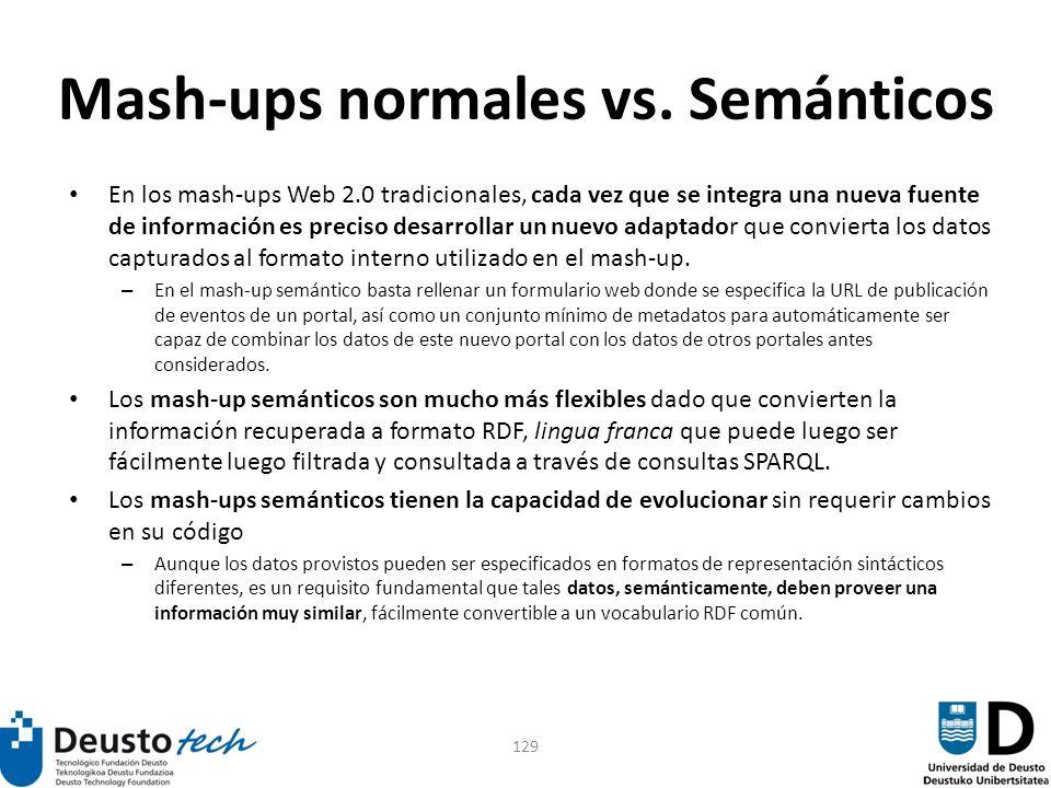 129 Mash-ups normales vs. Semánticos En los mash-ups Web 2.0 tradicionales, cada vez que se integra una nueva fuente de información es preciso desarro