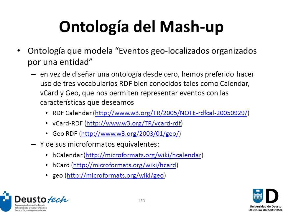 130 Ontología del Mash-up Ontología que modela Eventos geo-localizados organizados por una entidad – en vez de diseñar una ontología desde cero, hemos