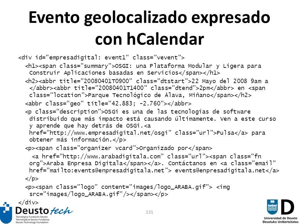 131 Evento geolocalizado expresado con hCalendar OSGI: una Plataforma Modular y Ligera para Construir Aplicaciones basadas en Servicios 22 Mayo del 20