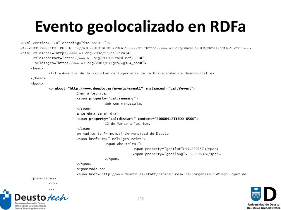 132 Evento geolocalizado en RDFa --> <html xmlns:cal=
