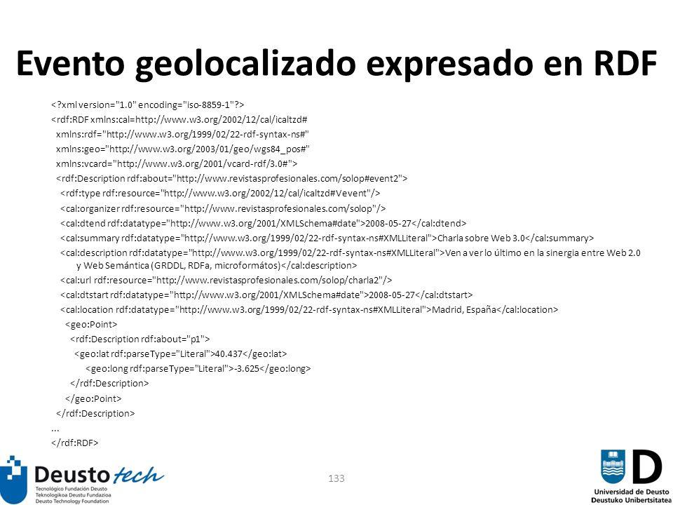 133 Evento geolocalizado expresado en RDF <rdf:RDF xmlns:cal=http://www.w3.org/2002/12/cal/icaltzd# xmlns:rdf=