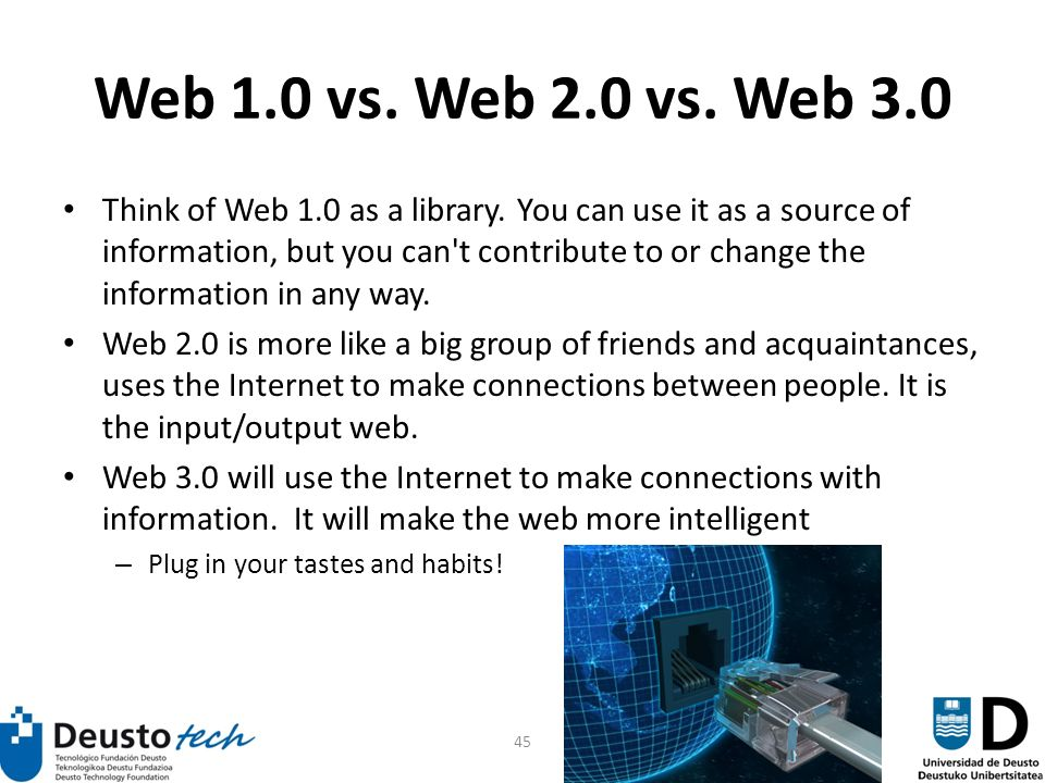 45 Web 1.0 vs. Web 2.0 vs. Web 3.0 Think of Web 1.0 as a library.