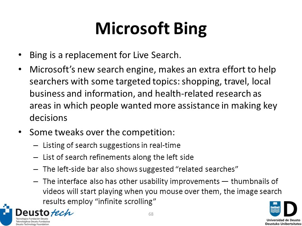 68 Microsoft Bing Bing is a replacement for Live Search.