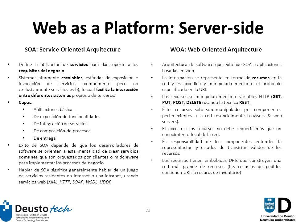 73 Web as a Platform: Server-side SOA: Service Oriented Arquitecture Define la utilización de servicios para dar soporte a los requisitos del negocio