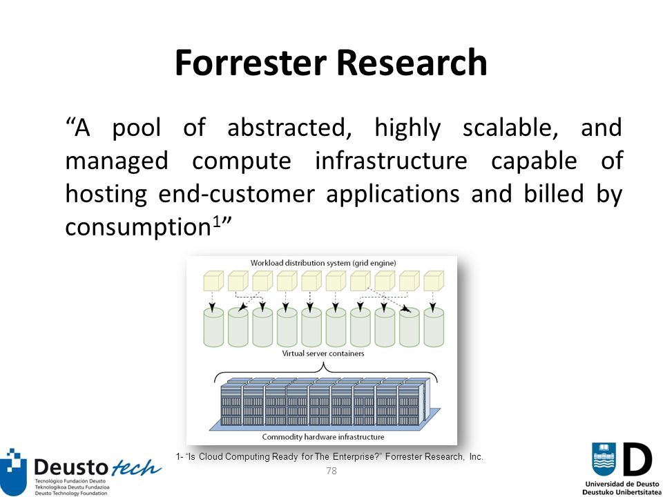 78 Forrester Research A pool of abstracted, highly scalable, and managed compute infrastructure capable of hosting end-customer applications and billed by consumption 1 1- Is Cloud Computing Ready for The Enterprise.