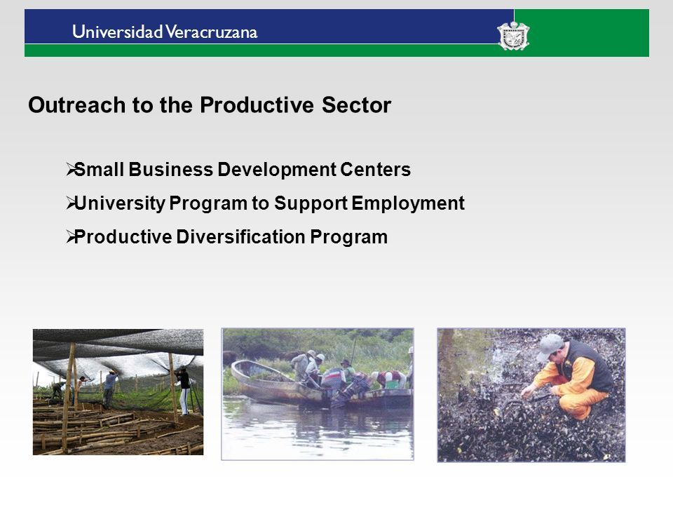 Universidad Veracruzana Outreach to the Productive Sector Small Business Development Centers University Program to Support Employment Productive Diver