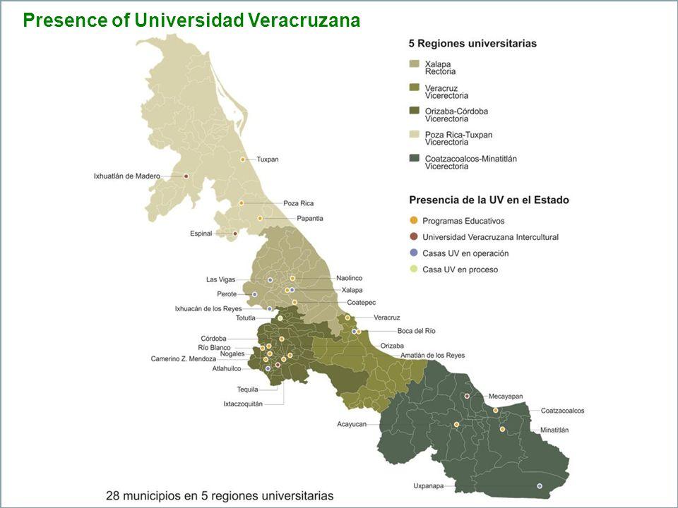 Universidad Veracruzana Numeralia 2010-2011 University Population Students71,176 Professors6,029 Administrative personnel4,819 Total82,084 Infrastructure Buildings369