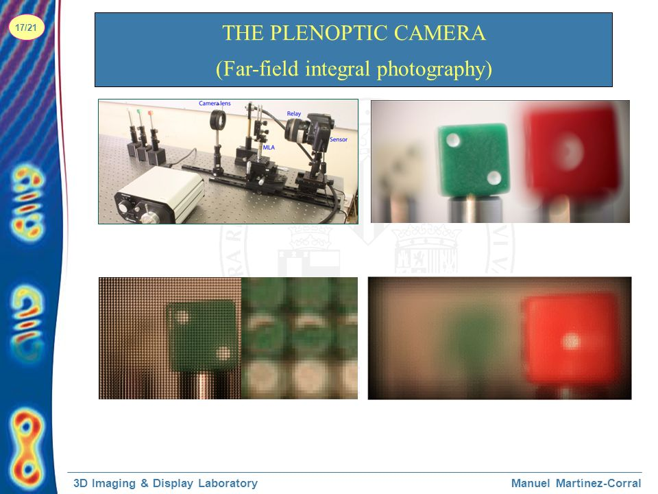 3D Imaging & Display LaboratoryManuel Martínez-Corral 17/21 THE PLENOPTIC CAMERA (Far-field integral photography)