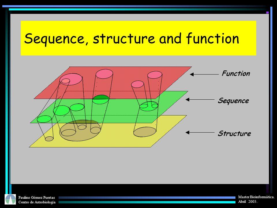Paulino Gómez Puertas Centro de Astrobiología Master Bioinformática. Abril 2003. Function Sequence Structure Sequence, structure and function