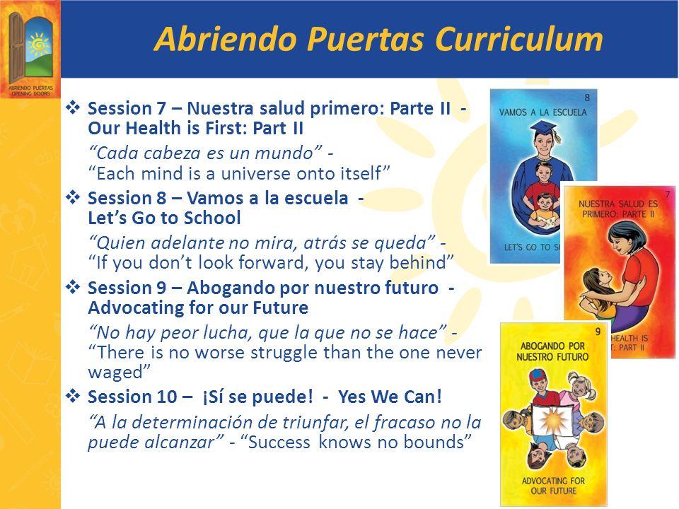 Abriendo Puertas Curriculum Session 7 – Nuestra salud primero: Parte II - Our Health is First: Part II Cada cabeza es un mundo - Each mind is a univer