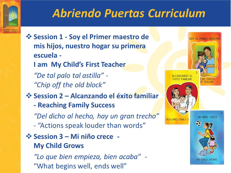 Abriendo Puertas Curriculum Session 1 - Soy el Primer maestro de mis hijos, nuestro hogar su primera escuela - I am My Childs First Teacher De tal pal