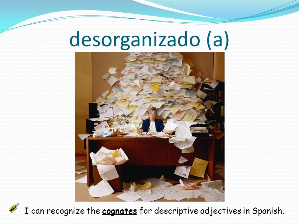 desorganizado (a) I can recognize the cognates for descriptive adjectives in Spanish.