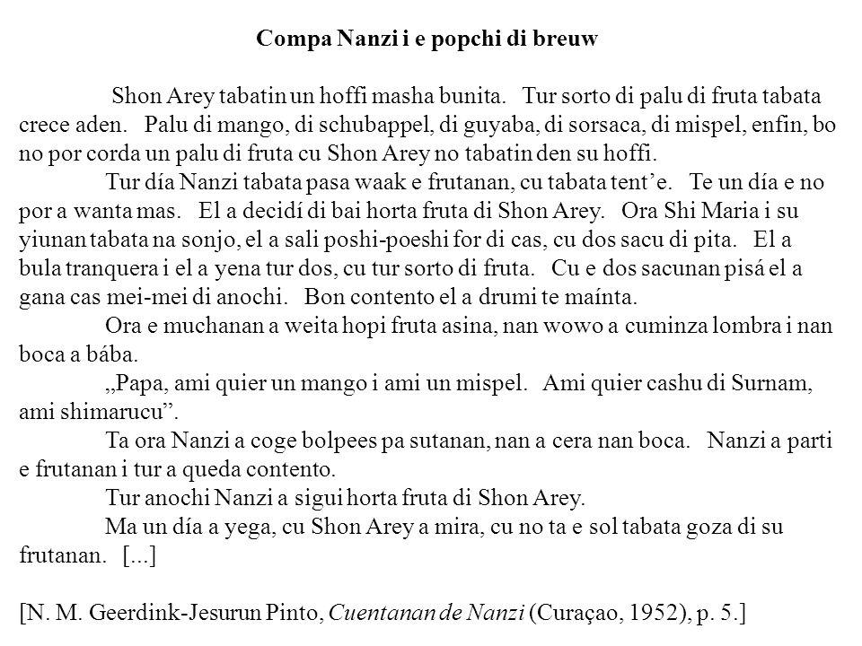 Compa Nanzi i e popchi di breuw Shon Arey tabatin un hoffi masha bunita. Tur sorto di palu di fruta tabata crece aden. Palu di mango, di schubappel, d