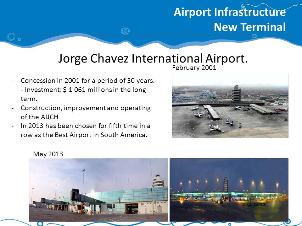 Jorge Chavez International Airport. Airport Infrastructure New Terminal -Concession in 2001 for a period of 30 years. - Investment: $ 1 061 millions i