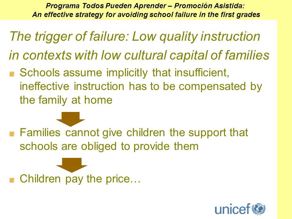 The trigger of failure: Low quality instruction in contexts with low cultural capital of families Schools assume implicitly that insufficient, ineffective instruction has to be compensated by the family at home Families cannot give children the support that schools are obliged to provide them Children pay the price… Programa Todos Pueden Aprender – Promoción Asistida: An effective strategy for avoiding school failure in the first grades