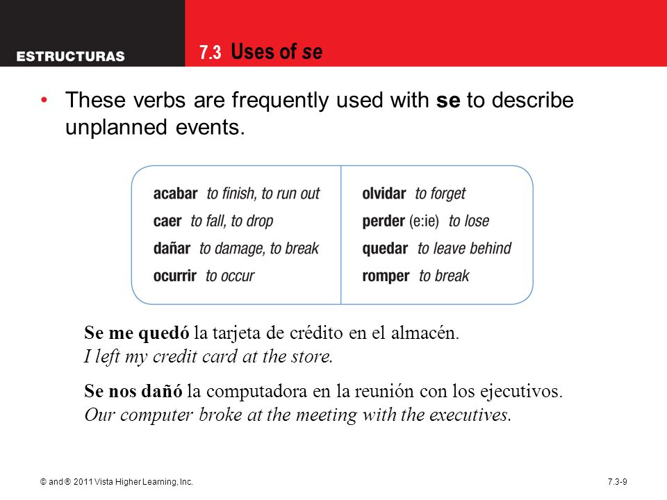7.3 Uses of se © and ® 2011 Vista Higher Learning, Inc.7.3-9 These verbs are frequently used with se to describe unplanned events. Se me quedó la tarj