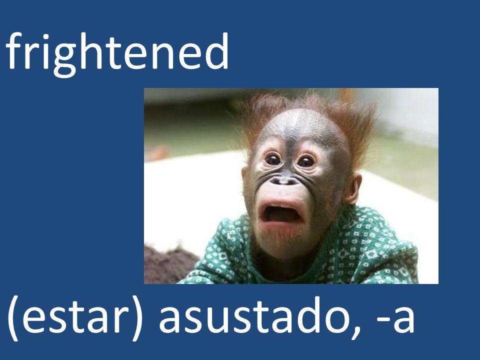 frightened (estar) asustado, -a
