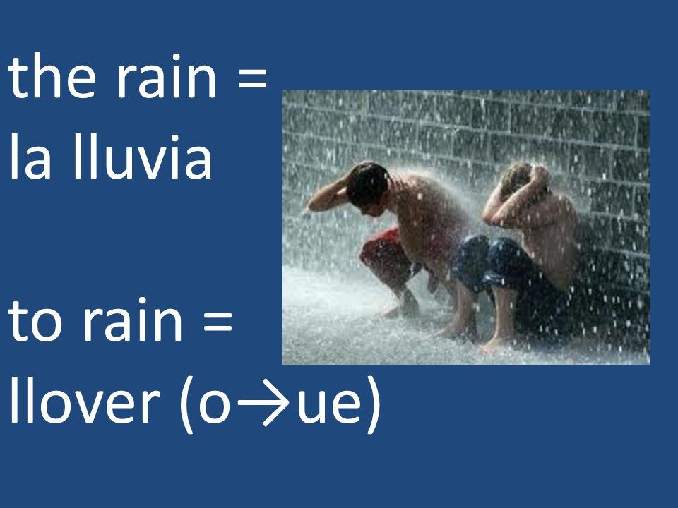 the rain = la lluvia to rain = llover (oue)