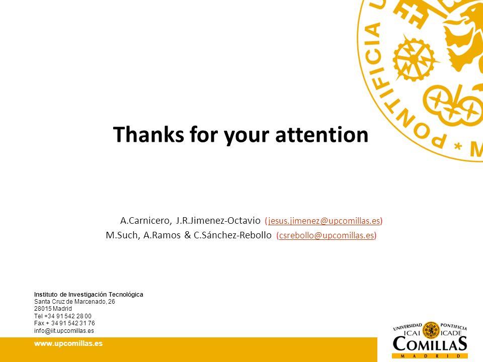 Instituto de Investigación Tecnológica Santa Cruz de Marcenado, 26 28015 Madrid Tel +34 91 542 28 00 Fax + 34 91 542 31 76 info@iit.upcomillas.es www.upcomillas.es Thanks for your attention A.Carnicero, J.R.Jimenez-Octavio (jesus.jimenez@upcomillas.es)jesus.jimenez@upcomillas.es M.Such, A.Ramos & C.Sánchez-Rebollo (csrebollo@upcomillas.es)csrebollo@upcomillas.es