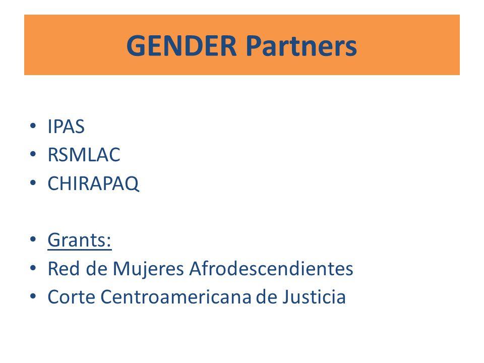 GENDER Partners IPAS RSMLAC CHIRAPAQ Grants: Red de Mujeres Afrodescendientes Corte Centroamericana de Justicia