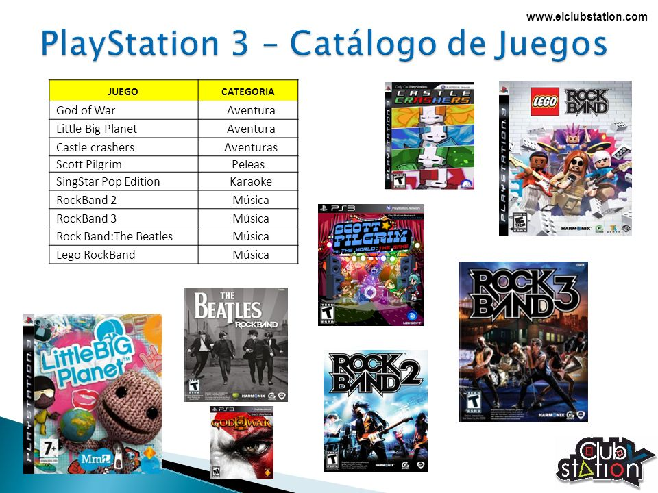 www.elclubstation.com JUEGOCATEGORIA God of WarAventura Little Big PlanetAventura Castle crashersAventuras Scott PilgrimPeleas SingStar Pop EditionKar