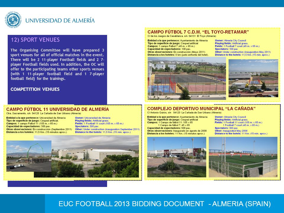 EUC FOOTBALL 2013 BIDDING DOCUMENT - ALMERIA (SPAIN) 12) SPORT VENUES The Organising Committee will have prepared 3 sport venues for all of official matches in the event.