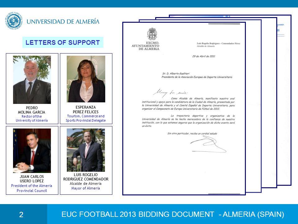 EUC FOOTBALL 2013 BIDDING DOCUMENT - ALMERIA (SPAIN) 2 LETTERS OF SUPPORT PEDRO MOLINA GARCIA Rector of the University of Almería ESPERANZA PEREZ FELI