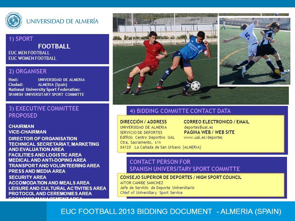 EUC FOOTBALL 2013 BIDDING DOCUMENT - ALMERIA (SPAIN) 1) SPORT FOOTBALL EUC MEN FOOTBALL EUC WOMEN FOOTBALL 2) ORGANISER Host:UNIVERSIDAD DE ALMERIA Ci