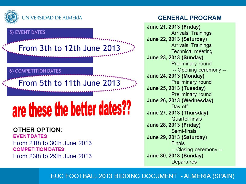 EUC FOOTBALL 2013 BIDDING DOCUMENT - ALMERIA (SPAIN) 5) EVENT DATES 6) COMPETITION DATES From 5th to 11th June 2013 From 3th to 12th June 2013 June 03