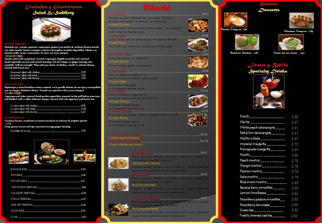Ensaladas y Guarniciones Salad &Saddlery Ensalada Emperador Ensalada con toronja, aguacate, espárragos, pepino y un surtido de verduras frescas servido con salsa wasabi.