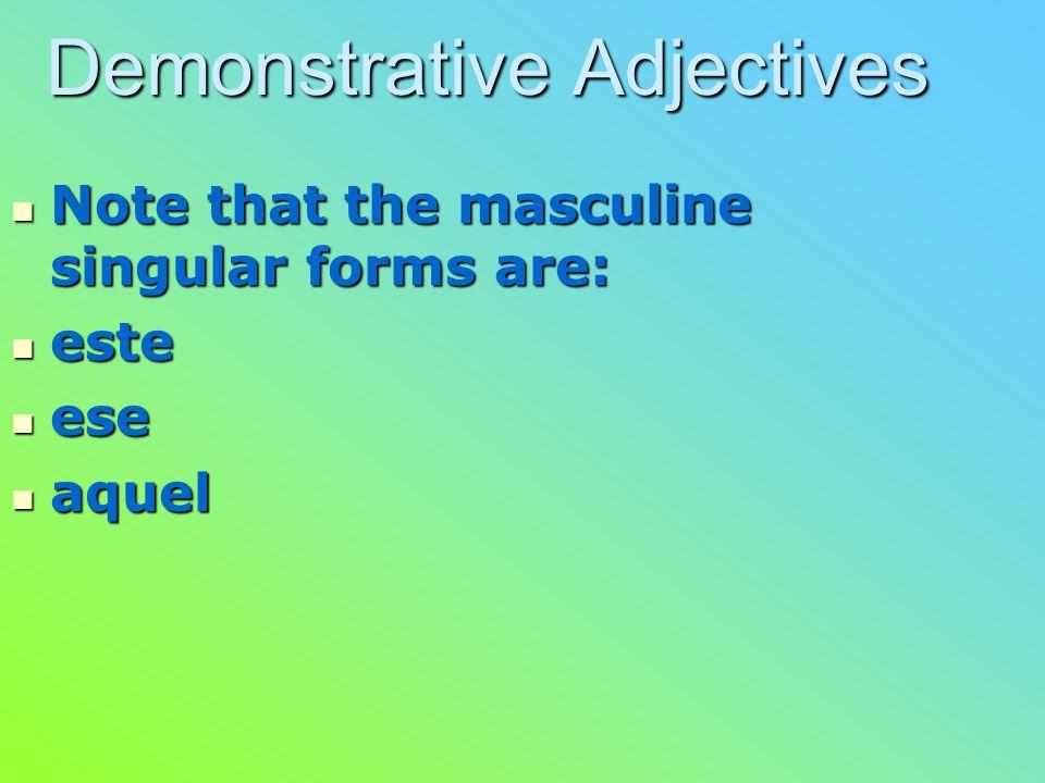 Demonstrative Adjectives Demonstrarive adjectives in Spanish are: Demonstrarive adjectives in Spanish are: este/esta/estos/estas – this/these este/est