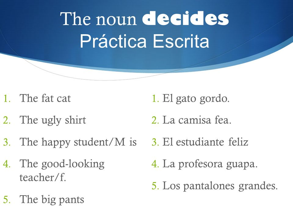 The noun decides Práctica Escrita 1. The fat cat 2. The ugly shirt 3. The happy student/M is 4. The good-looking teacher/f. 5. The big pants 1. El gat
