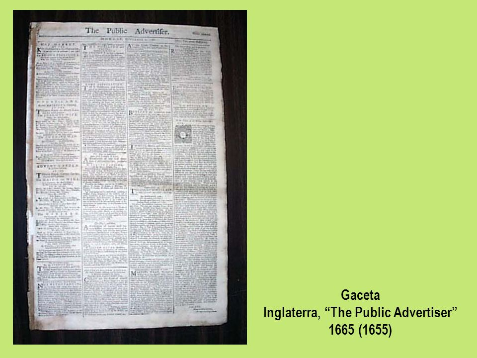Gaceta Inglaterra, The Public Advertiser 1665 (1655)