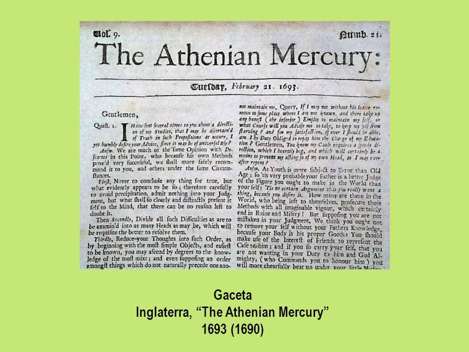 Gaceta Inglaterra, The Athenian Mercury 1693 (1690)