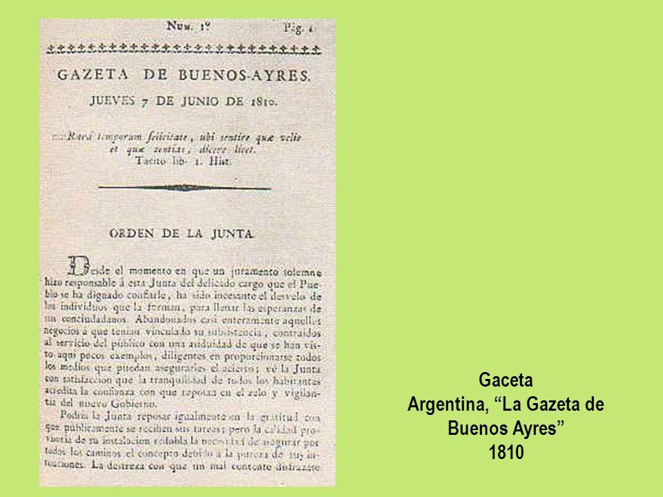 Gaceta Argentina, La Gazeta de Buenos Ayres 1810