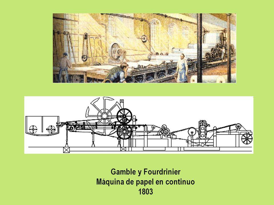 Gamble y Fourdrinier Máquina de papel en continuo 1803