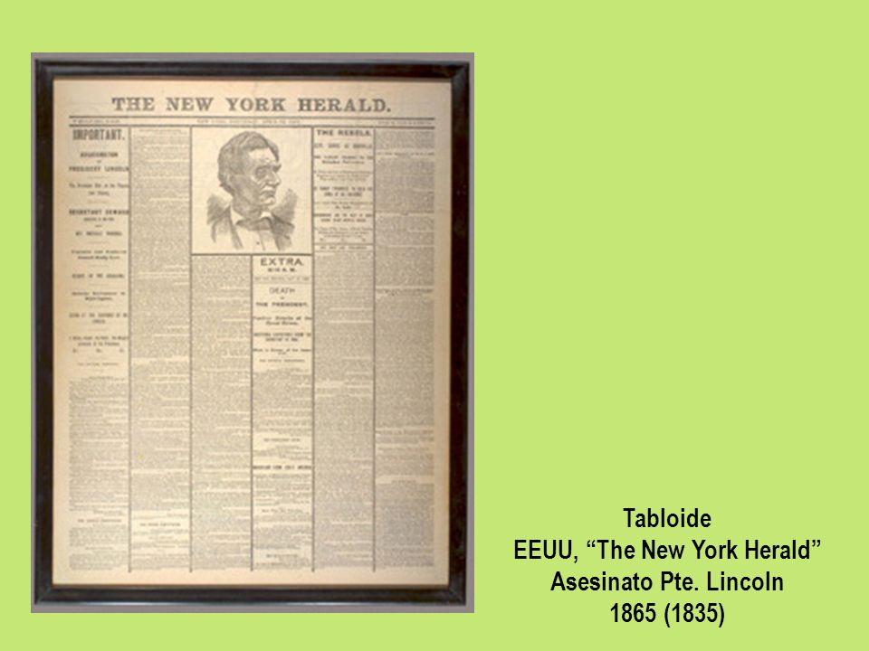 Tabloide EEUU, The New York Herald Asesinato Pte. Lincoln 1865 (1835)