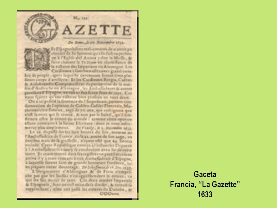 Gaceta Francia, La Gazette 1633