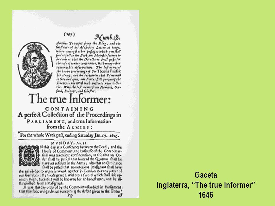Gaceta Inglaterra, The true Informer 1646