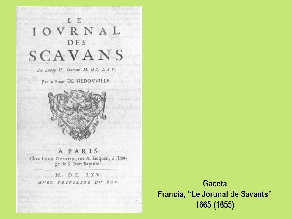 Gaceta Francia, Le Jorunal de Savants 1665 (1655)